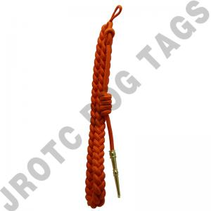 Orange cord with gold (brass) tip - Lanyard Fourragere with Tip (Button Loop) (Each)