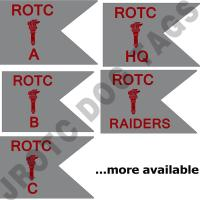 Guidon Flag ROTC With Torch And Letter (Each)  (Takes Minimum 2-3 Months)