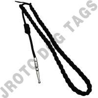 Black with Silver tip - Lanyard Fourragere with Tip (Button Loop) (Each)