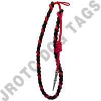 Black/Red cord with Silver tip - Lanyard Fourragere with Tip (Button Loop) (Each)