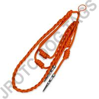 Orange Staff Cord Silver Tip (Button Loop)